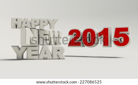 Render of Happy new year 2015  - stock photo