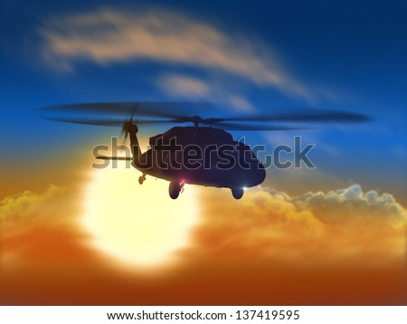 Render of helicopter flying from sun  - stock photo