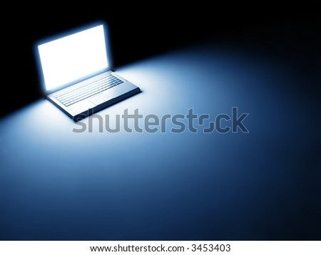 Render of high-end laptop computer with white screen on black background - stock photo