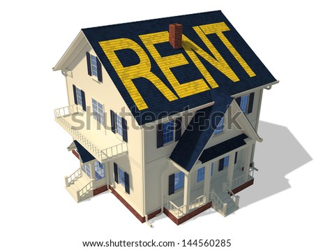 Render of home exterior isolated on white Render home exterior(Rent) - stock photo