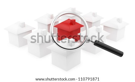 render of houses under a magnifying glass - stock photo