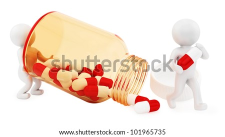 render of 2 man and pills - stock photo