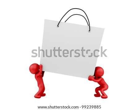 render of 2 man lifting big shopping bag - stock photo
