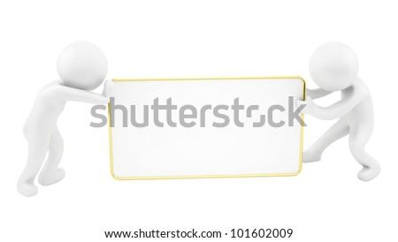 render of 2 man pushing/pulling gold blank sign - stock photo