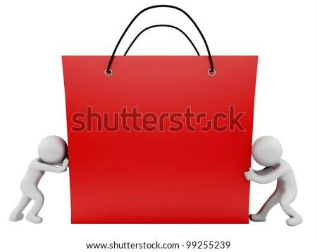render of 2 man pushing/pulling shopping bag - stock photo