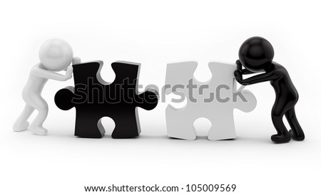 render of 2 man pushing puzzle pieces