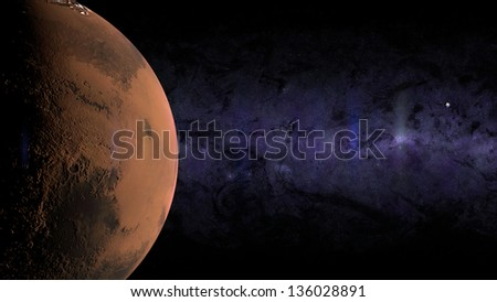 Render of Mars and Earth with Moon. Elements of this image furnished by NASA. - stock photo