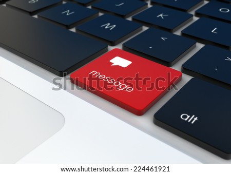render of message button on a keyboard  - stock photo