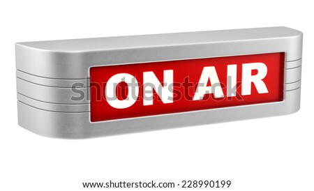 render of on air sign, isolated on white - stock photo