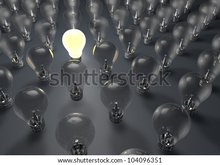 render of one lightbulb switched on - stock photo