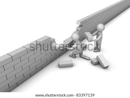 render of 2 people building a wall - stock photo