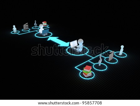render of 2 people with laptops connected through the internet - stock photo