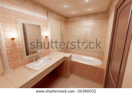 render of pink bathroom