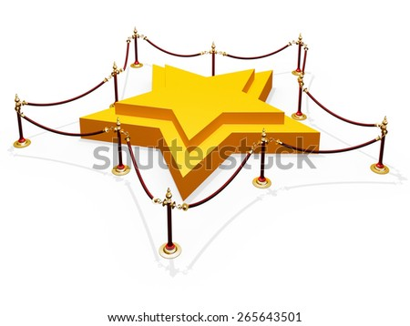 Render of podium star shape and  barrier rope isolated