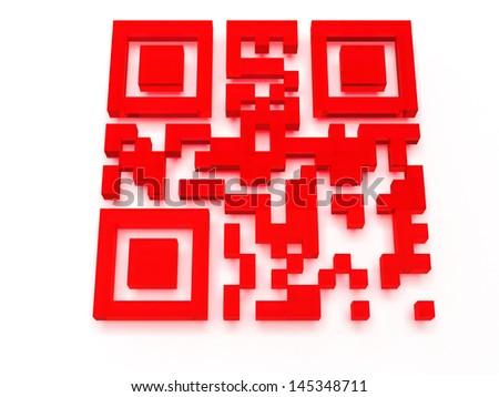 Render of QR code - stock photo