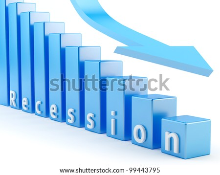 render of recession business graph - stock photo