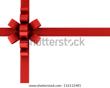 render of red ribbon and bow, isolated on white