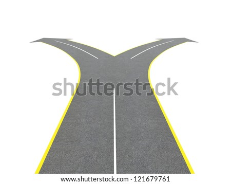 Render of road bifurcation on a white isolated background - stock photo