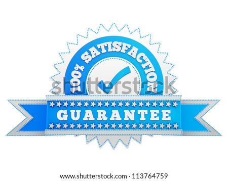 render of Satisfaction sign, isolated on white - stock photo