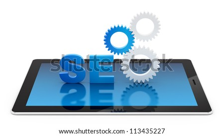 render of SEO on a tablet PC, isolated on white