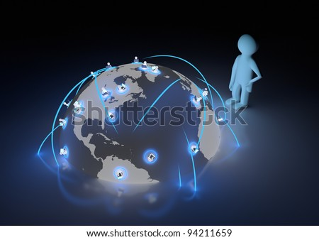render of several people connected to each other around the world - stock photo