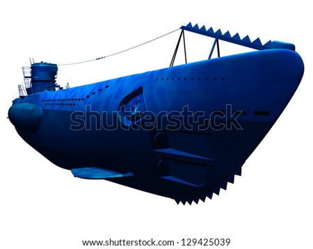 Render of submarine under water side view isolated - stock photo