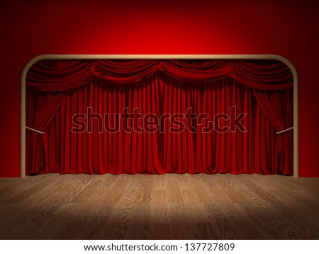 Render of the curtains of a theater