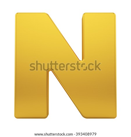 render of the letter N with brushed gold texture, isolated on white