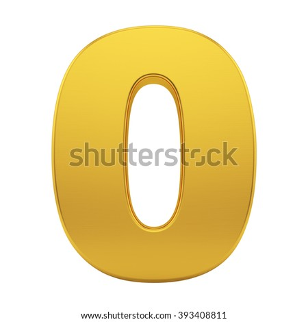 render of the number 0 with brushed gold texture, isolated on white - stock photo