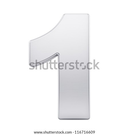render of the number 1 with brushed metal texture, isolated on white - stock photo
