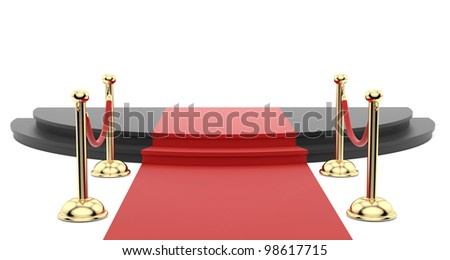 render of the red carpet with stanchions on the side - stock photo