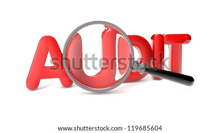 render of the text audit and a magnifying glass
