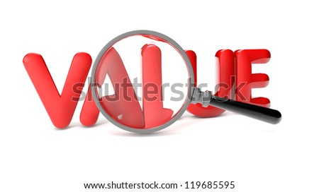 render of the text value and a magnifying glass - stock photo