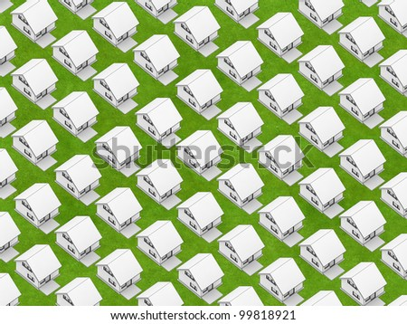 Render of the white houses in orthographic view on the grass texture. - stock photo