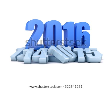 Render of the year 2016 and other years - stock photo