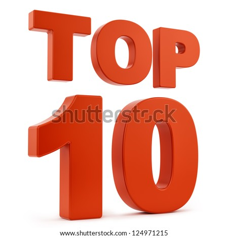 render of top 10, isolated on white - stock photo