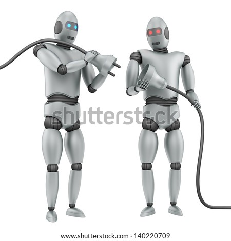 render of two robots connecting cables, isolated on white