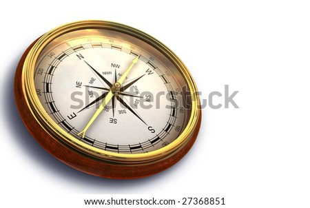 Render of vintage compass isolated on white - stock photo