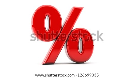 Render red percentage symbol in 3d - stock photo
