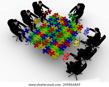 Render seven  businessman joining table of puzzle color  pieces  - stock photo