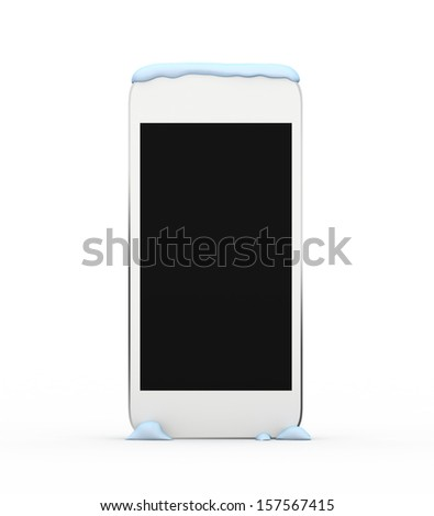 Render smart phone isolated on a white background under the snow cap. - stock photo