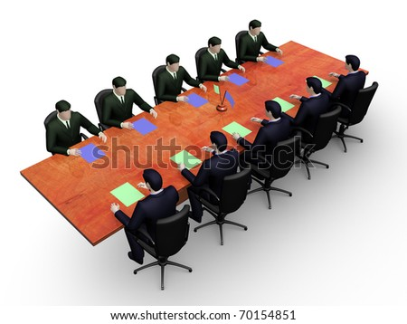Render two group of businessmans on informal business meeting