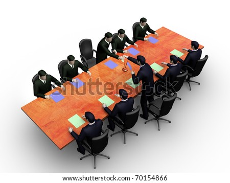 Render two group of businessmans on informal business meeting - stock photo