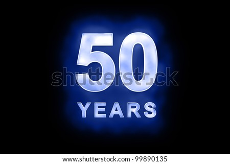 Rendered alphanumerical design for Fifty Years celebration in blue shimmering lights on a dark background - stock photo