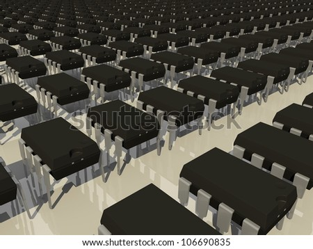 Rendered Array of Dual In Line Package DIP8 Electronic Components - stock photo