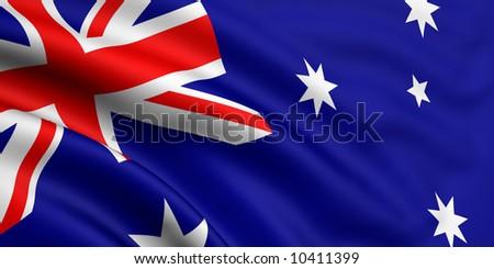 Rendered australian flag - stock photo