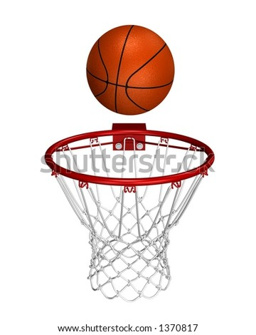 Rendered basket ball over the ring - stock photo