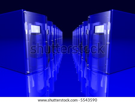 rendered blue servers on a reflective floor - stock photo