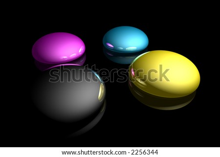 rendered CMYK ink drops on a black reflective background - stock photo