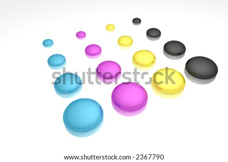 rendered CMYK ink drops on a white reflective background - stock photo